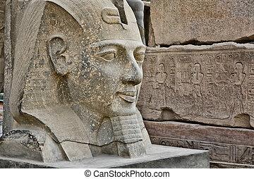 ii, ramses, hoofd, standbeeld