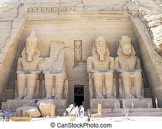 ii, ramses, pharaoh, standbeelden, egypte