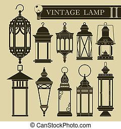 ii, weinlese, lampe