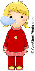 Cold - iIllustration of a Girl with a Cold
