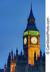 Iimage of Big Ben, the most popular and iconic landmark in England. Designed by Augustus Pugin in a Neo-Gothic style in the early 19th Century for Queen Victoria, and nicknamed after the First Great Be