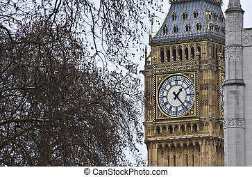 Iimage of Big Ben, the most popular and iconic landmark in England.Designed by Augustus Pugin in a Neo-Gothic style in the early 19th Century for Queen Victoria, and nicknamed after the First Great Be