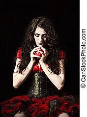 ijedős, becsuk, varrás, alma, körmök, fog, furcsa, száj, ...
