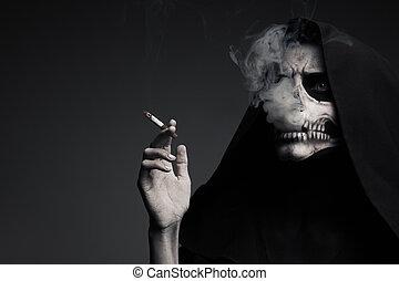 """ijedős, halál, kills""""., """"smoking, smoke., fogalom, készítmény, felhő"""