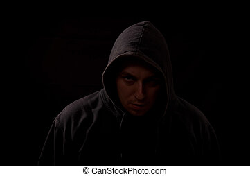 ijedős, néz, egyenes, látszó, sötét, portré, ön, ember
