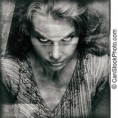 ijedős, nő, szüret, rossz, arc portré