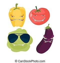ijedős, vegetables., káposzta, alatt, szemüveg, borzasztó, bors, kegyetlen, tomato., vektor, ábra