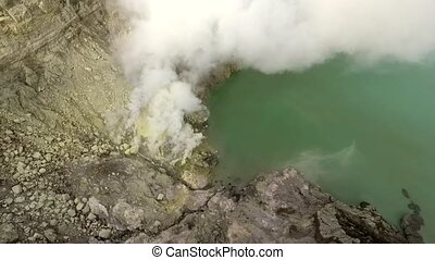 ijen., bourdon, vidéo, java., est, indonesia., crater., vols...