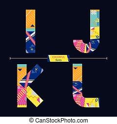 ijkl, stil, sätta, färgrik, alfabet, geometrisk