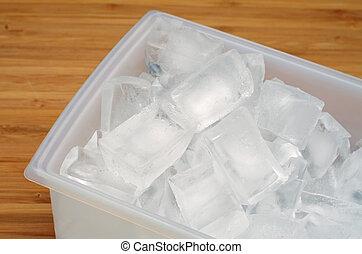ijs kubeert, in, een, blad