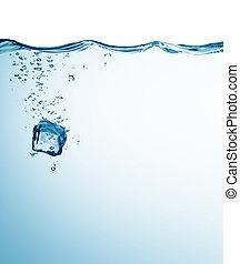 ijsblokje, in, water