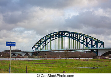Ijsselbrug spanning the river Ijssel at Zwolle in The...