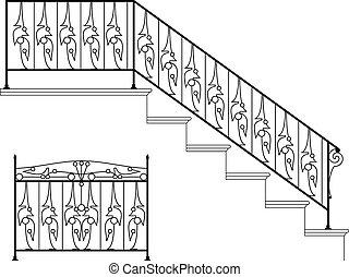ijzer, ontwerp, wrought, tree balustrade