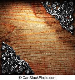 ijzer, ornament, op, hout