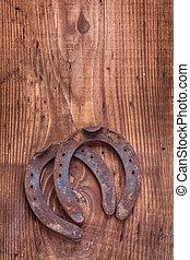 ijzer, westelijk, gegoten metaal, oud, horsesho, paarde, ...