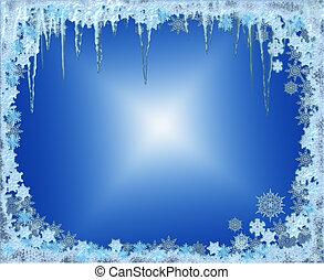 ijzig, kerstmis, frame, met, snowflakes, en, icicles