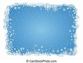 ijzig, vector, snowflakes, achtergrond