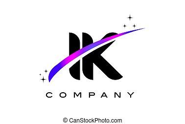 IK I K Black Letter Logo Design with Purple Magenta Swoosh
