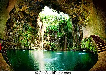 ik-kil, cenote, chichen itza, 墨西哥
