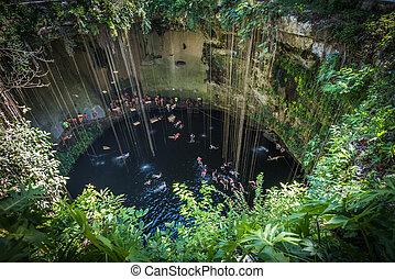 ik, kil, cenote , yucatan , λαϊκός , διακριτικό σημείο , μεξικό