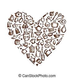 ik, liefde, cooking!, keukengerei, schets, hart gedaante,...