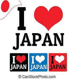 ik, liefde, japan, meldingsbord, en, etiketten