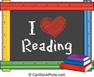 ik, liefde, lezende , meetlatje, frame