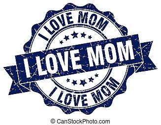 ik, liefde, mamma, stamp., teken., zeehondje