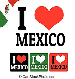 ik, liefde, mexico, meldingsbord, en, etiketten