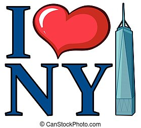 ik, liefde, new york, meldingsbord, met, wolkenkrabber