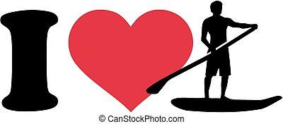 ik, liefde, opstaan, paddling, silhouette