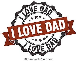 ik, liefde, papa, stamp., teken., zeehondje