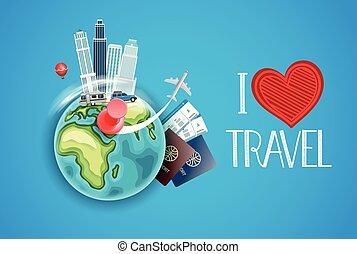 ik, liefde, reizen, concept., vector, illustratie