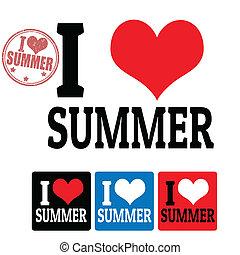 ik, liefde, zomer, meldingsbord, en, etiketten
