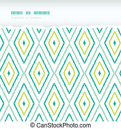 ikat, 引き裂かれた, 背景, seamless, パターン, 緑, ダイヤモンド, 横