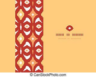 ikat, 金, パターン, フレーム, seamless, 背景, 幾何学的, 横, 赤
