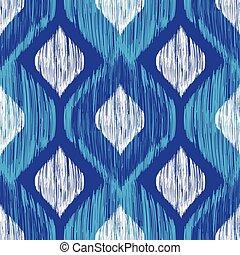 ikat, bleu, tribal, moderne, pattern., seamless, arrière-...