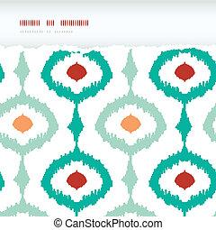 ikat, colorido, cadena, patrón, marco, rasgado, seamless,...
