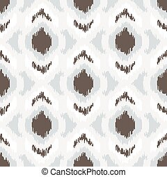 Ikat geometric seamless pattern. White and brown collection.