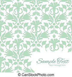 ikat, model, abstract, vector, groene achtergrond, hoek, frame