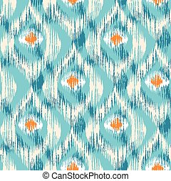 ikat pattern with peacock feathers.