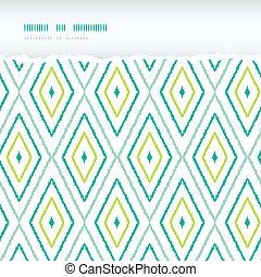 ikat, rasgado, fundos, seamless, padrões, verde, diamantes, horizontais