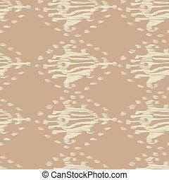 Ikat seamless bohemian ethnic beige vector pattern in watercolour style. Watercolor ikat oriental ornaments.