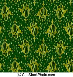 Ikat seamless bohemian ethnic green vector pattern in watercolour style. Watercolor ikat oriental ornaments.