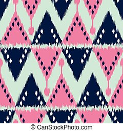 Ikat seamless pattern  as cloth, curtain, textile design, bed linen, wallpaper, surface texture background