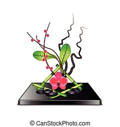 Ikebana isolated on white vector