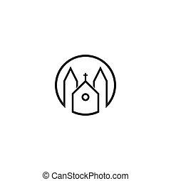 ikon, ábra, vektor, templom, sablon, jel