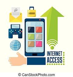 ikon, állhatatos, kapcsolódó, internet