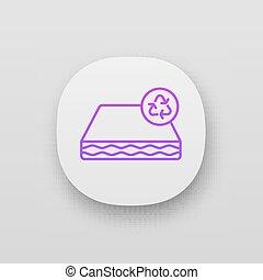 ikon, återvinning, ekologisk, app, madrass