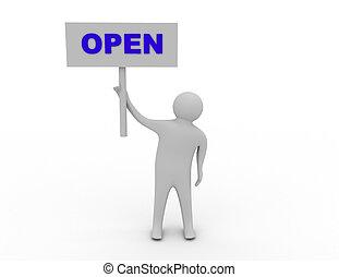 ikon, öppna, 3, man